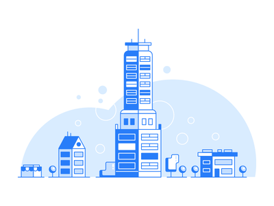 City icon design environment shop house tower company town city builds illustration