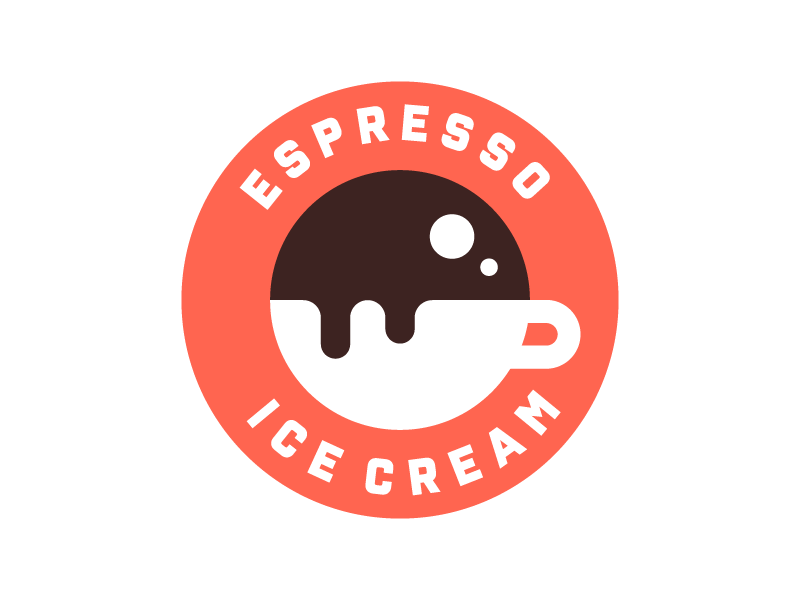 Espresso Ice Cream logo espresso ice cream badge cafe branding identity design