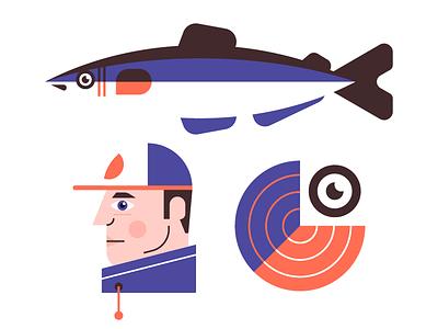 Fishing fisherman eye f design identity branding company illustration logo monogram fishing fish