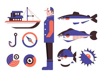 Fishing icon design illustration compass eye fisherman sea boat fishing fish
