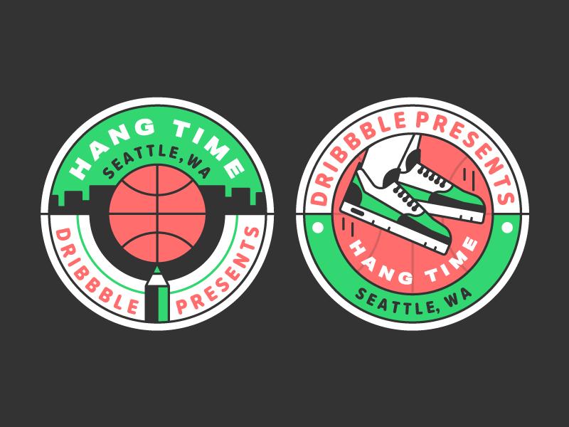 Hang Time Seattle basketball city design badge event illustration sticker seattle hang time dribbble