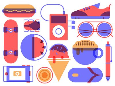 Icons hot dog tokio penil sun glasses watermelon ice cream skateboard shoes exploring style summer icon