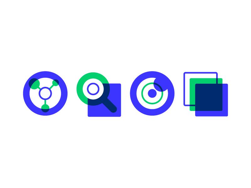 Product  Icons design base knowledge visualizer elements green blue icon hub