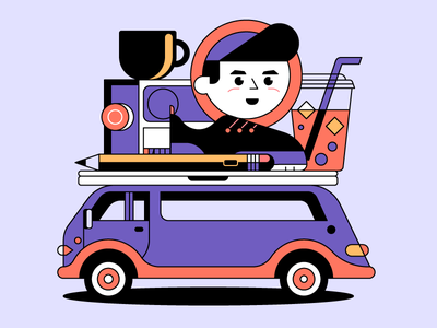 Freelancing music pencil shoes beverage coffee van summer digital nomad illustration designer freelancer