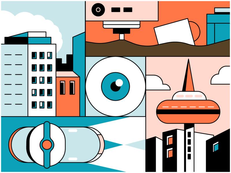 City future cartoon tower eye coffee colors concept city