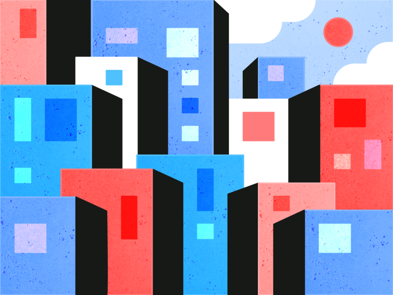City illustration cityscape buildings color city