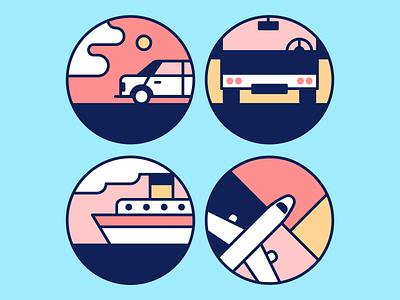 travel icons vacation plane ship bus car icon travel