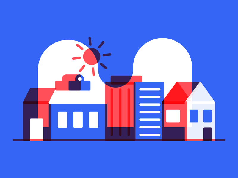town blue icons by alfredo cloud building house town city