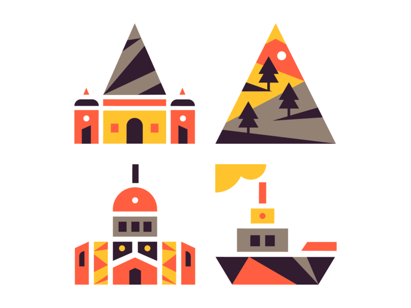 PP icons travel ship mountain building icon