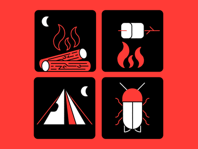 Camping icon marshmallow bug fire camping