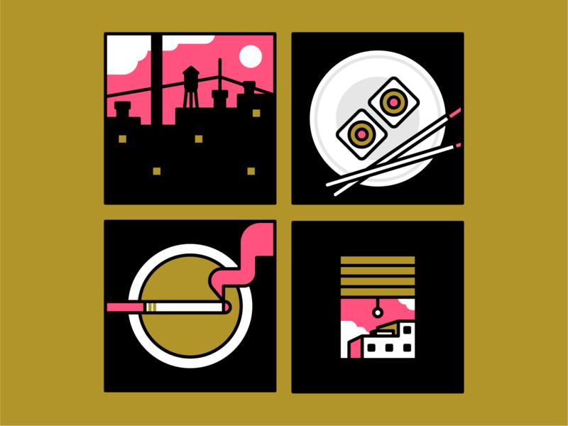 spot illustrations icons colors frame city window smoking sushi illustraion spot