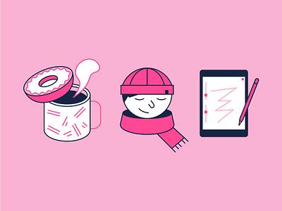 Mood winter procreate donut coffee designer logo illustrator freelancer designer mood