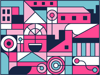 town city circle rectangle square lines shapes geometric town