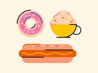 lunch sausage hot dog coffee cappuccino donut food lunch