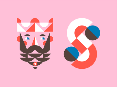 King & S royal crown beard monogram design geometric face king logo monogram mark king james king