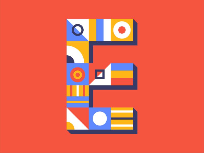 E shapes type design geometric geometric art 36daysoftype-e 36daysoftype letter lettering typography type e