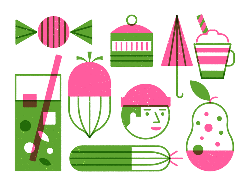 Exploring coffee pear umbrella face cucumber beet drink candy green pink lineart outline illustrations icons style exploring