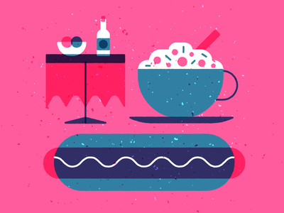 Food icons wine hot dog sausage coffee latte illustration illustrator icon food
