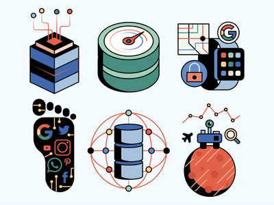 Big Data Icons editorial magazine machinelearning artificial intelligence ai smart devices science space footprint data tech icon big data
