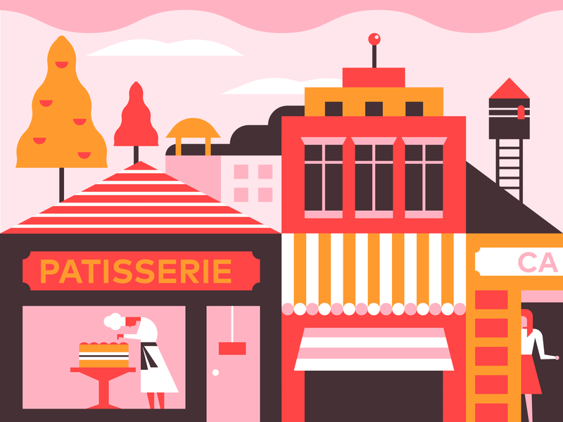 Patisserie french paris cake shop cakery city illustration cooker street town city coffee cafe baking cake patisserie