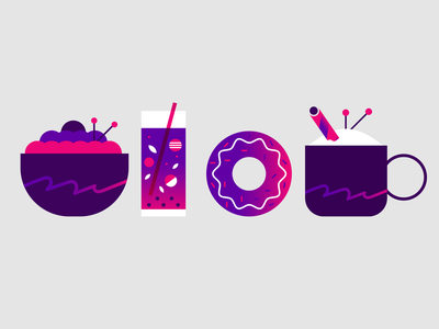 breakfast & lunch coffee latte coctail beverage donut salad illustration icon food lunch breakfast