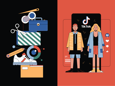 Balance & Influencers thread sneakers girl boy characters print article editorial illustration magazine brands influencers tiktok textile fashion technology new traditional balance