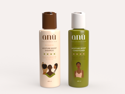 ANÜ Shampoo & Conditioner   3D Mock Ups afro caribbean designer packagingdesign 3d hair logo branding graphic design design vector illustration creative digital