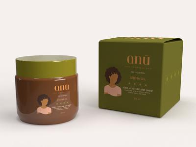 ANÜ JoJoba Oil   3D Mock Ups anu caribbean afro branding women packaging 3d hair graphic design design vector illustration creative digital