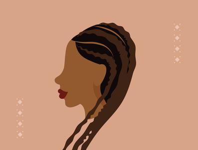 ANÜ Illustration african woman hair braids design silhouette caribbean afro branding characterdesign vector illustration creative digital