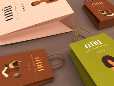 ANÜ | Paper Bags merch paper bags character design caribbean anu hair afro graphic design logo branding design vector illustration creative digital