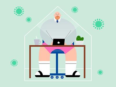 Work from Home work vectore scene quarantine man illustration digital design characterdesign creative coronavirus