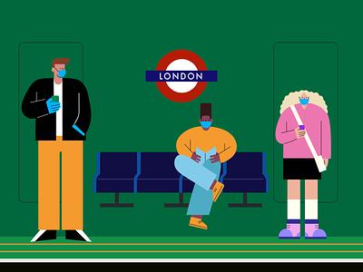 Social Distancing commute transport people staysafe masks coronavirus covid-19 character social distancing design vector illustration creative digital