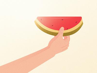 Watermelon summertime watermelon scene seed hand fruit heatwave summer texture design creative illustration digital