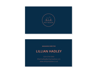 Amity Meadow | Business Cards business cards retreat travel glamping logo branding graphic design design creative digital