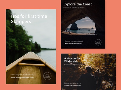 Amity Meadow | Posters retreat adventure explore nature glamping posters creative design graphic design scene logo branding digital