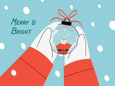 Merry & Bright decor snow winter christmas bauble santa characterdesign scene graphic design vector illustration design creative digital