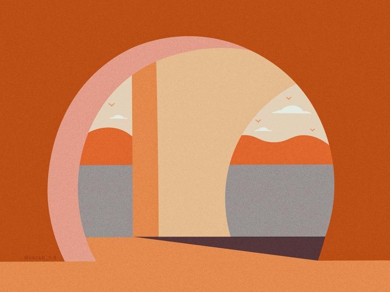 Arch surrealism futurism shapes architecture scene design creative texture vector illustration digital