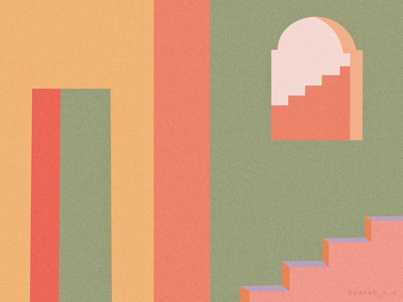 Fort simplistic minimal surreal geometry shape 3d scene architecture creative texture vector illustration digital