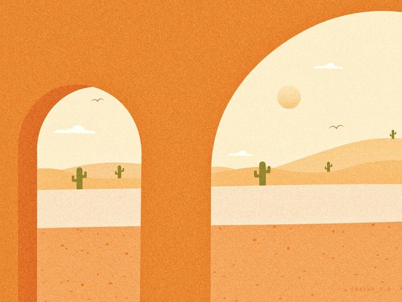 Desert cactus desert design 3d scene architecture creative adobe illustrator texture vector illustration digital
