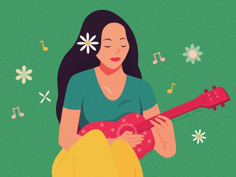 Girl playing the Ukulele characterdesign music summer flowers girl ukulele design creative adobe illustrator texture vector illustration digital