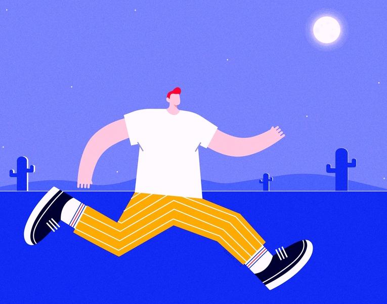 Moon characterdesign moon summer scene design creative vector illustration digital