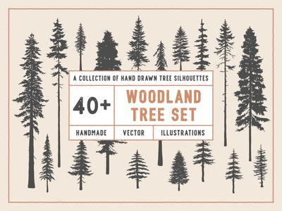 Woodland Tree Set design flat nature vector art vector illustration distressed texture vintage woodland hand-drawn spruce evergren douglas fir redwood pine illustration vector silhouette tree