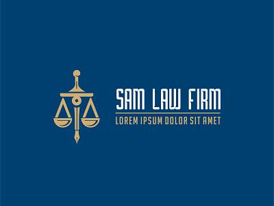 Sam Law Firm Logo flat logo vector illustration design