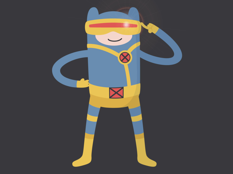 Finn Cyclops xmen vector illustration crossover adventure time