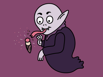 Happy Nosferatu character art character concept cartoon ice cream nosferatu halloween illustrator vector illustration