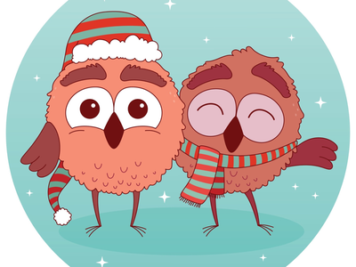 Holiday Owls wacom tablet cartoons owls christmas festive holiday character concept character art cartoon illustrator vector illustration
