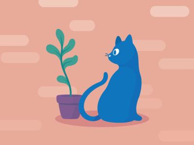 Modern Cat + Plant