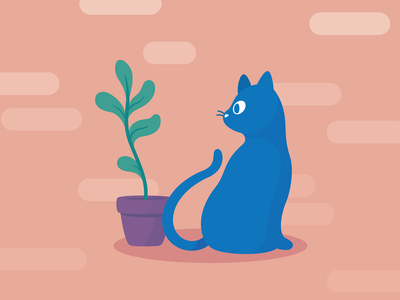 Modern Cat + Plant digital illustration digitalart digital cats blue cat cartoon illustrator vector illustration