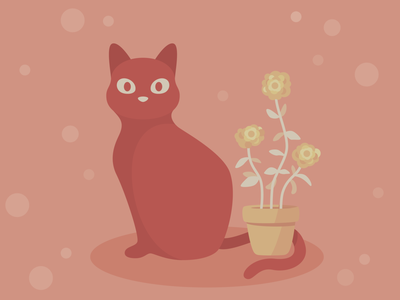 Modern Cat + Plant Red flowers cat character art cartoon illustrator vector illustration