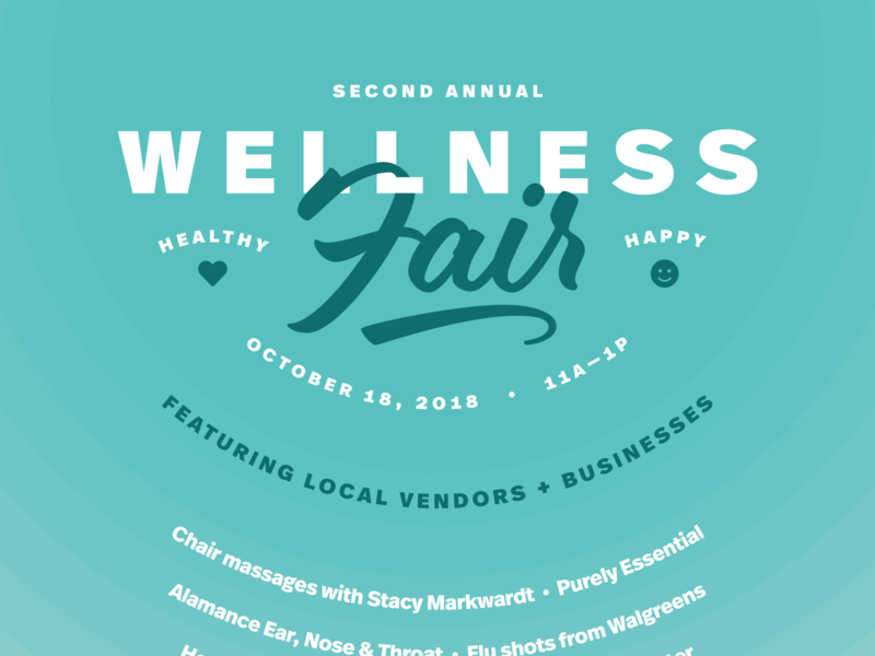 Wellness Fair 2018 font awesome eds market ff real in-house event poster flat circles type layering fair script teal